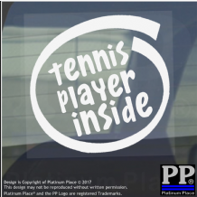 1 x Tennis Player Inside-Window,Car,Van,Sticker,Sign,Vehicle,Adhesive,Sport,Ball